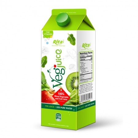1000ml Paper Box Healthy 100 Mixed Vegetable and Fruit Juice Drink
