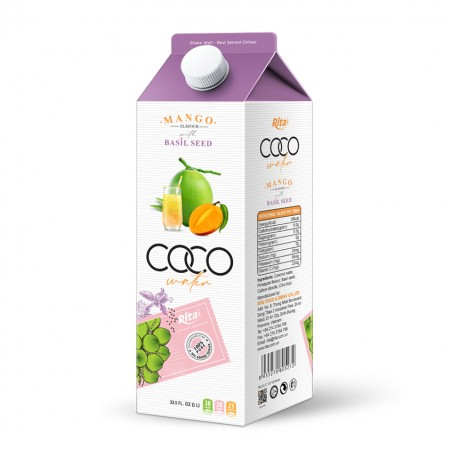 1L Paper Box Coconut Water with Basil Seed Mango Flavor